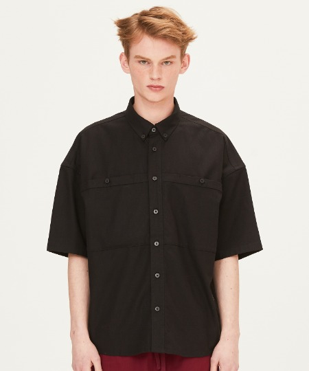 OUT POCKET SHORT SLEEVE SHIRTS (BLACK) [FSH002H23BK]