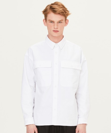SOLID TWO POCKET SHIRTS (WHITE) [FSH003H13WH]