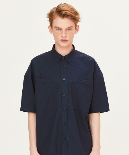 OUT POCKET SHORT SLEEVE SHIRTS (NAVY) [FSH002H23NA]
