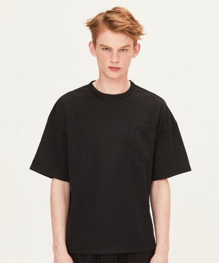 POLY WAFFLE CHEST POCKET T-SHIRTS (BLACK) [FTS002H23BK]
