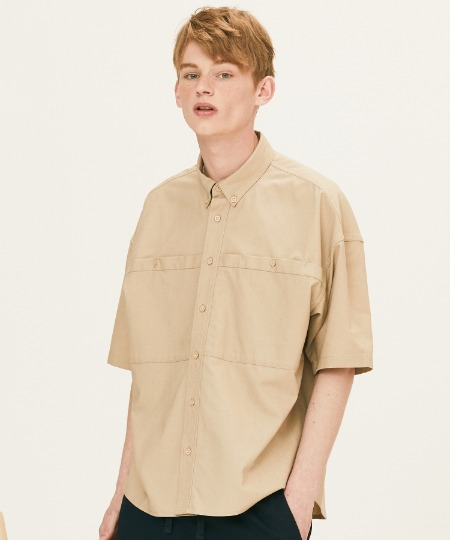 OUT POCKET SHORT SLEEVE SHIRTS (BEIGE) [FSH002H23BE]