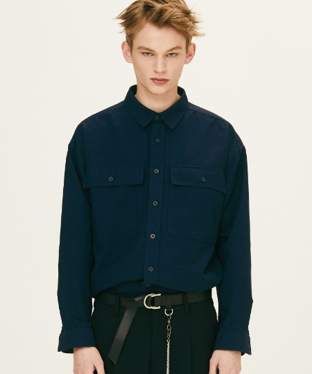 SOLID TWO POCKET SHIRTS (NAVY) [FSH003H13NA]