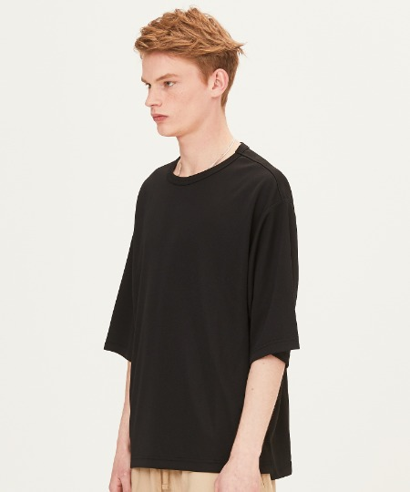 POLY WAFFLE OVER FIT SHORT SLEEVE T-SHIRTS (BLACK) [FTS001H23BK]