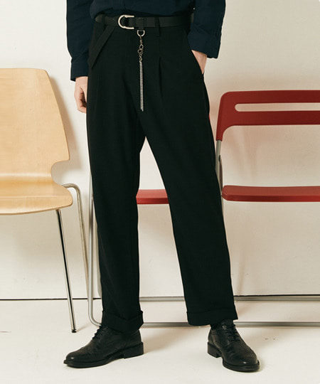 ROLL UP TR SPAN PANTS (BLACK) [FPT001H13BK]