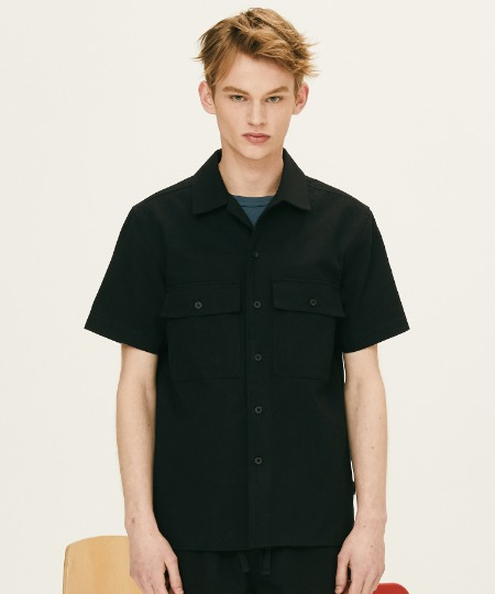 OPEN COLLAR HALF SLEEVE SHIRTS (BLACK) [FSH003H23BK]