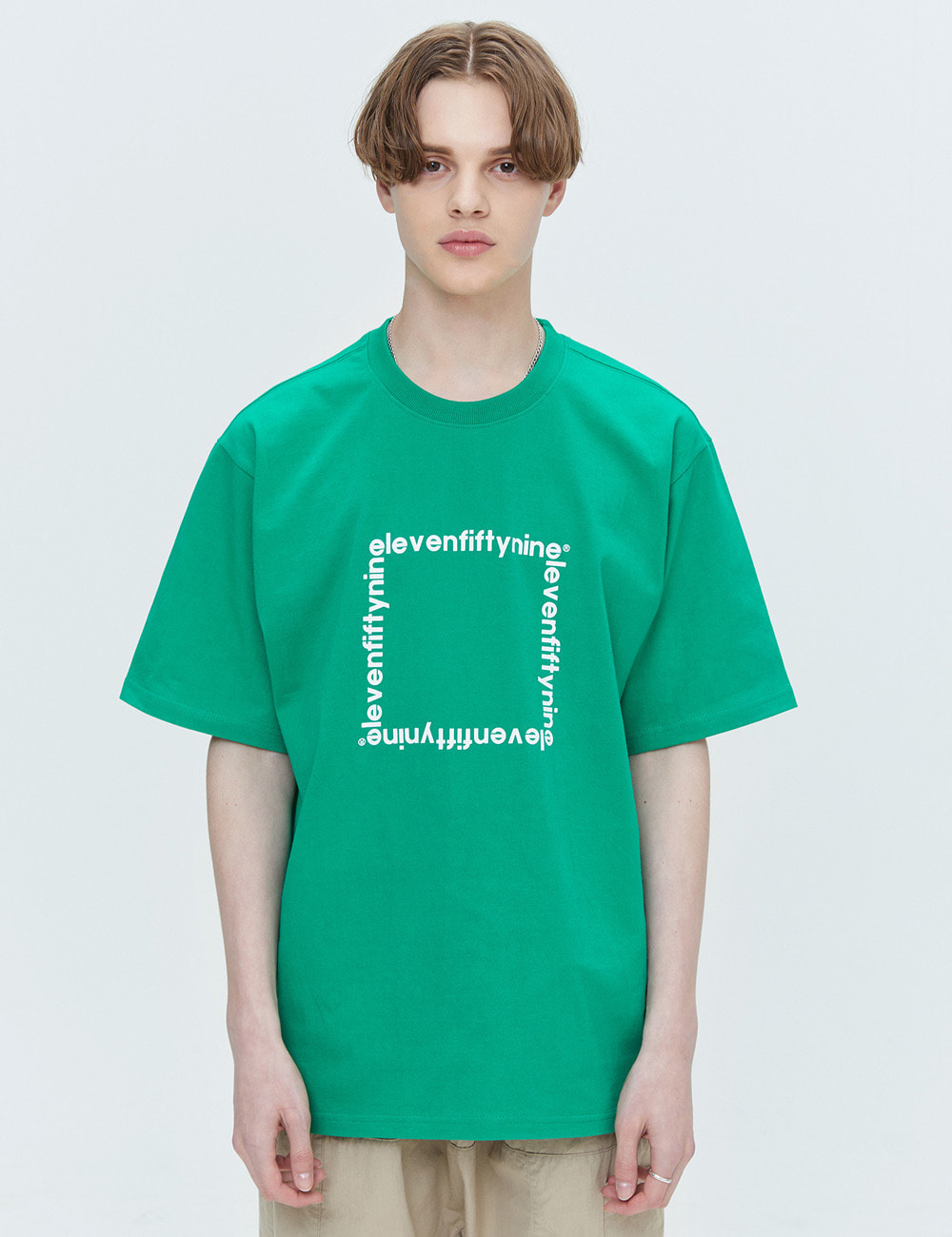 C190 SQUARE LOGO T-SHIRTS (GREEN) [ETS021H23GR]