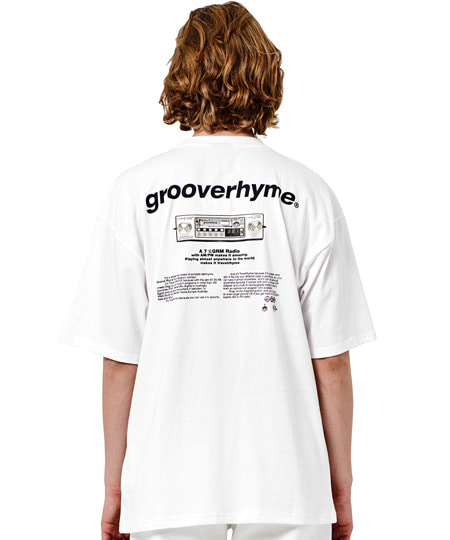 RADIO PRINT OVER FIT T-SHIRTS (WHITE) [GTS010H23WH]