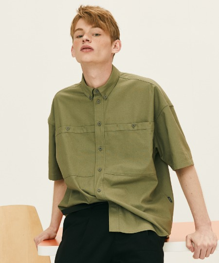 OUT POCKET SHORT SLEEVE SHIRTS (KHAKI) [FSH002H23KH]