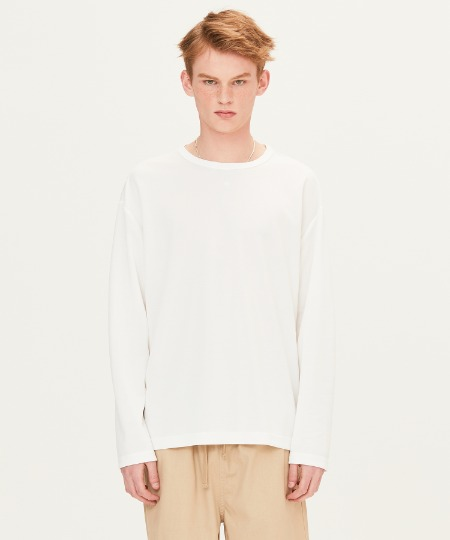 POLY WAFFLE LONG SLEEVE T-SHIRTS (WHITE) [FTS001H13WH]