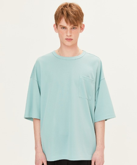 POLY WAFFLE CHEST POCKET T-SHIRTS (MINT) [FTS002H23MI]