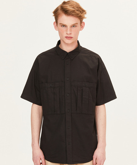 DART POCKET SHORT SLEEVE SHIRTS (BLACK) [FSH001H23BK]