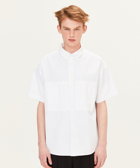 DART POCKET SHORT SLEEVE SHIRTS (WHITE) [FSH001H23WH]