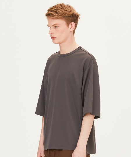 POLY WAFFLE OVER FIT SHORT SLEEVE T-SHIRTS (DARK GREY) [FTS001H23CH]