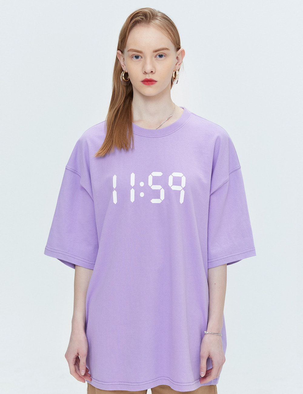 BASIC OVER FIT T-SHIRTS (LIGHT PURPLE) [ETS001H23LU]